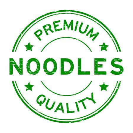 Grunge green premium quality noodle round rubber seal stamp Vektorové ilustrace