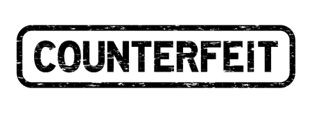 counterfeit: Grunge black square counterfeit rubber seal stamp Illustration