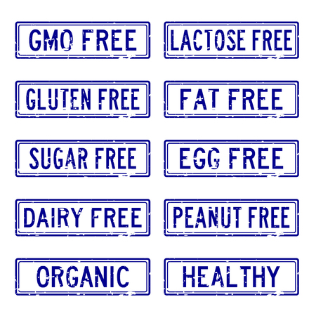 Set of grunge blue square rubber stamp about food allergen and safety