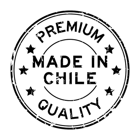 Grunge black premium quality made in chile round rubber stamp on white background.