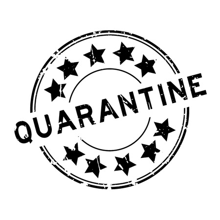 plague: Grunge black quarantine with star icon round rubber seal stamp on white background