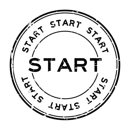 Grunge black start round rubber seal stamp on white background Çizim