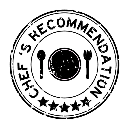 Grunge black chef 's recommendation round rubber seal stamp on white background Vectores