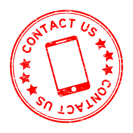 Grunge red contact us with phone icon round rubber seal stamp on white background