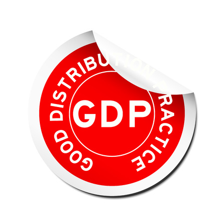 Red GDP (Good distribution practice) sticker on white background Illustration