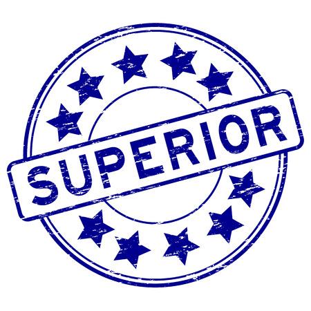 Grunge blue superior with star icon round rubber stamp Illustration