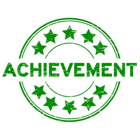accomplish: Grunge green achievement  with star icon round rubber seal stamp on white background Illustration