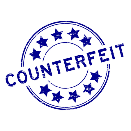 Grunge blue counterfeit with star icon round rubber stamp on white background Illustration