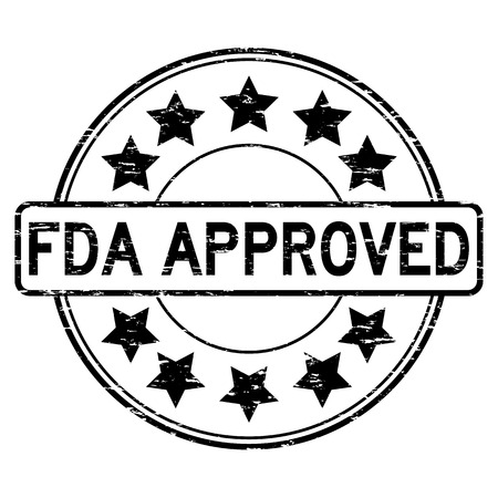 Grunge black FDA approved with star icon round rubber seal stamp on white background Illustration