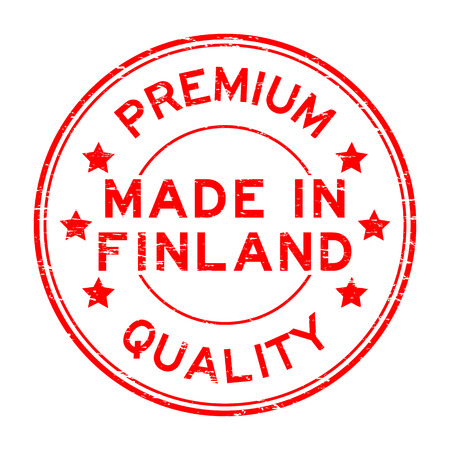 made in finland: Grunge red premium quality made in finland round rubber seal stamp Illustration