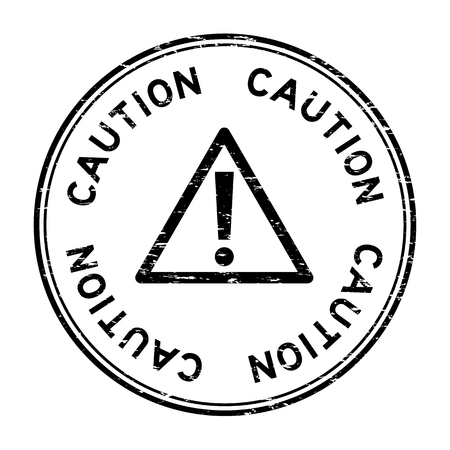 dangerous work: Grunge black caution with sign round rubber seal stamp