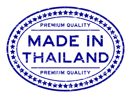Grunge blue quality made in Thailand oval rubber stamp Illustration