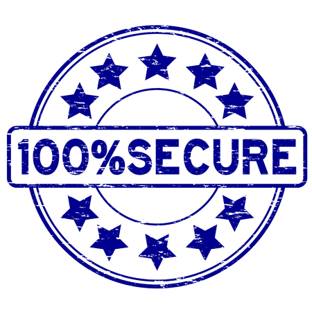 Grunge blue 100 percent secure with star icon round rubber stamp