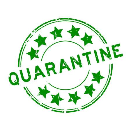 quarantine: Grunge green quarantine with star icon round rubber seal stamp on white background Illustration