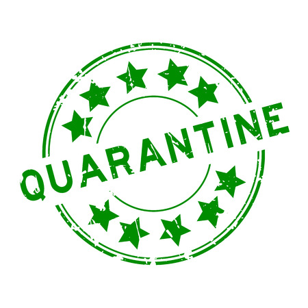 Grunge green quarantine with star icon round rubber seal stamp on white background Illustration