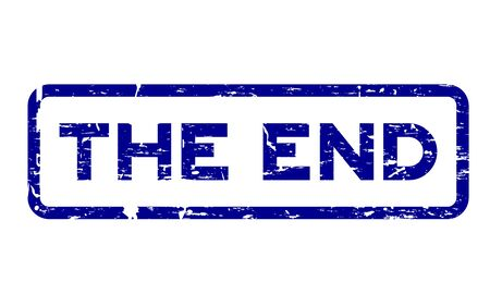 Grunge blue the end square rubber seal stamp on white background Illustration