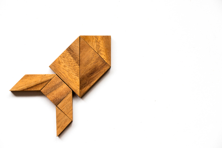 Wooden tangram puzzle in rocket shape on white background (Concept for new experience, start project)