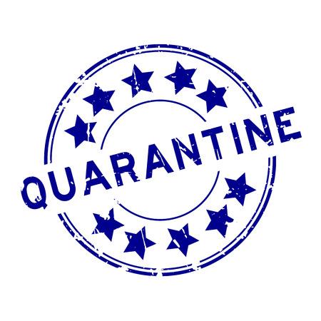 quarantine: Grunge blue quarantine with star icon round rubber seal stamp on white background