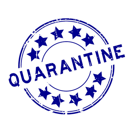 Grunge blue quarantine with star icon round rubber seal stamp on white background