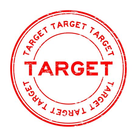 Grunge red target round rubber seal stamp on white background Illustration