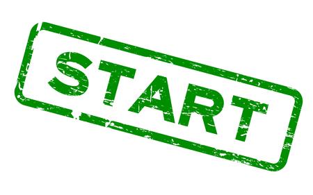 ready logos: Grunge green start square rubber seal stamp on white background Illustration