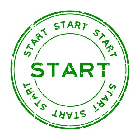 グランジの緑は、白い背景の上の円形のゴム製シール スタンプをスタートします。