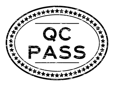Grunge black QC pass oval rubber seal stamp on white background Illustration