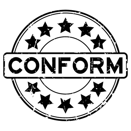 conformity: Grunge black conform with star icon round rubber seal stamp on white background