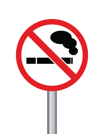No smoking sign on round transportation sign with metal pole on white background Illustration