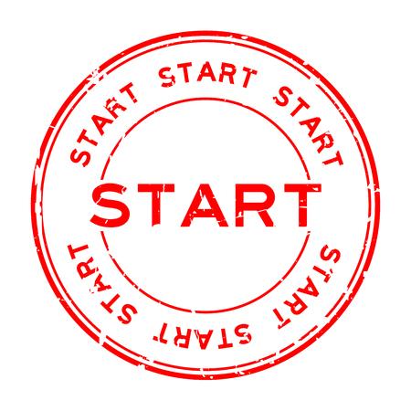 グランジ赤白背景に円形のゴム製シール スタンプを開始します。  イラスト・ベクター素材