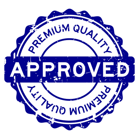 Grunge blue premium quality approved round rubber seal stamp on white background