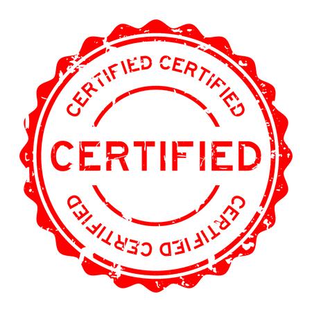 グランジ赤認定白背景に円形のゴム製シール スタンプ  イラスト・ベクター素材