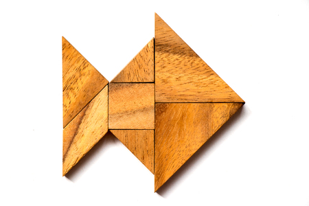 Wooden tangram puzzle in fish shape on white background