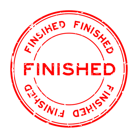 accomplish: Grunge red finished round rubber seal stamp on white background