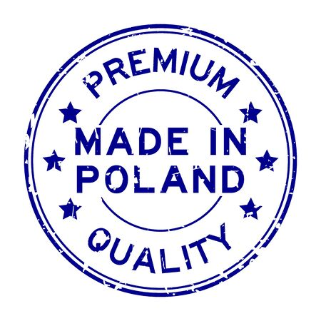 commerce and industry: Grunge blue premium quality made in Poland round rubber seal stamp on white background Illustration