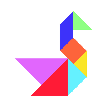 Colorful chinese tangram puzzle in swan shape on white background (Vector)