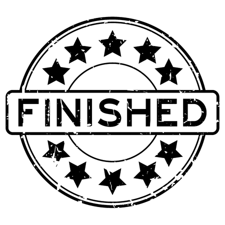 accomplish: Grunge black finished with star icon round rubber seal stamp on white background