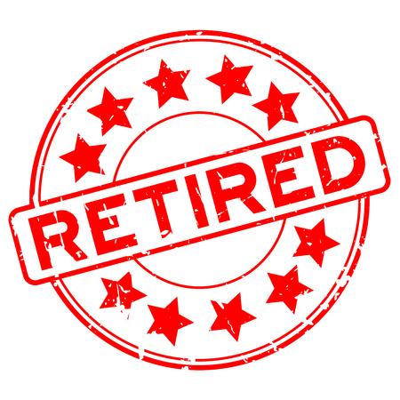 白い背景のスタンプ シール丸星のアイコンと引退したグランジ赤