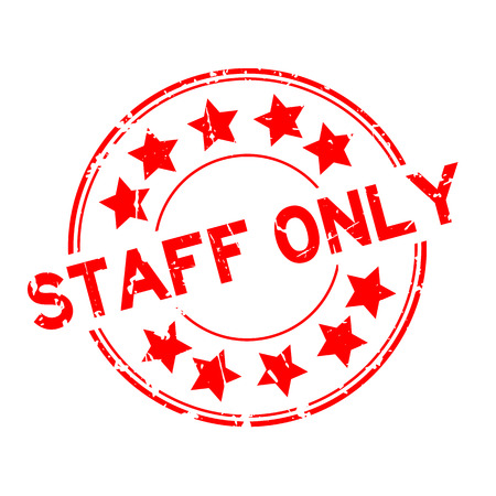 members only: Grunge red staff only with star icon round rubber seal stamp on white background Illustration