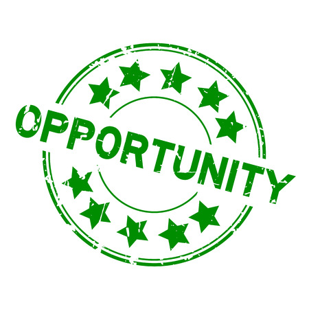 opportunity sign: Grunge green opportunity with star icon round rubber stamp on white background