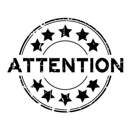 beware: Grunge black attention with star icon round rubber stamp on white background