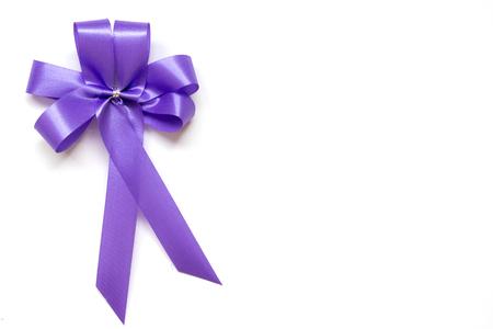 Blue bow as award ribbon on white background Stock Photo
