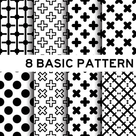 multiply: 8 Basic black and white color geometric pattern