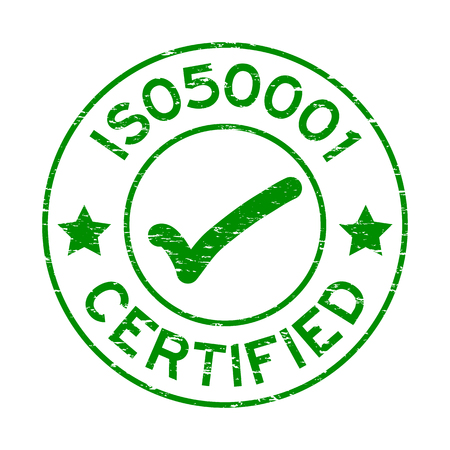 Grunge green ISO 50001 with mark icon round rubber seal stamp on white background Illustration