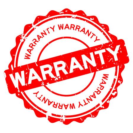 Grunge red warranty round rubber seal stamp on white background