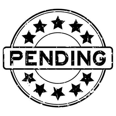 Grunge black pending with star icon round rubber seal stamp on white background