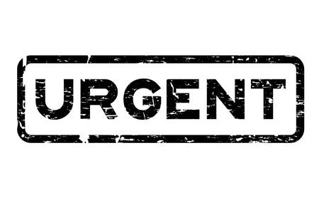 response time: Grunge black urgent square rubber seal stamp on white background