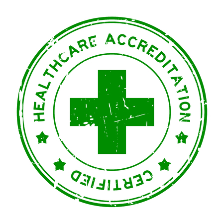 Grunge green healthcare accreditation round rubber seal stamp on white background Illustration