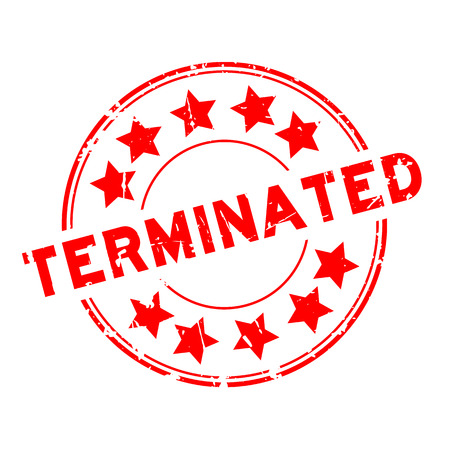 Grunge red terminated with star icon round rubber seal stamp on white background