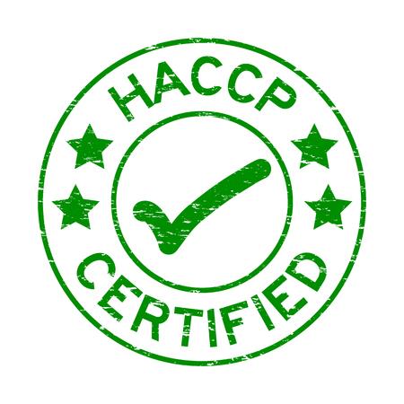 白い背景に、緑のグランジ HACCP (ハザード分析重要管理点) 認定ラウンド スタンプ  イラスト・ベクター素材